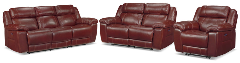 Solenn Power Reclining Sofa, Reclining Loveseat and Recliner - Redwood