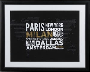 "World Cities Framed Print (20"" X 16"")"