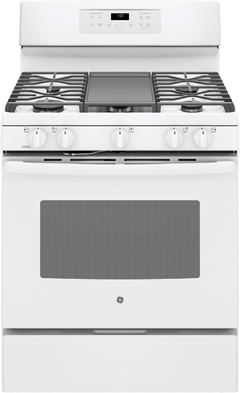 GE White Freestanding Gas Convection Range (5.0 Cu. Ft.) - JCGB700DEJWW
