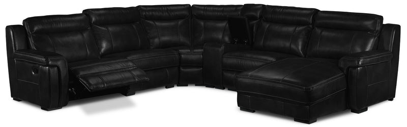 Bolero 6-Piece Reclining Sectional with Right-Facing Chaise - Black