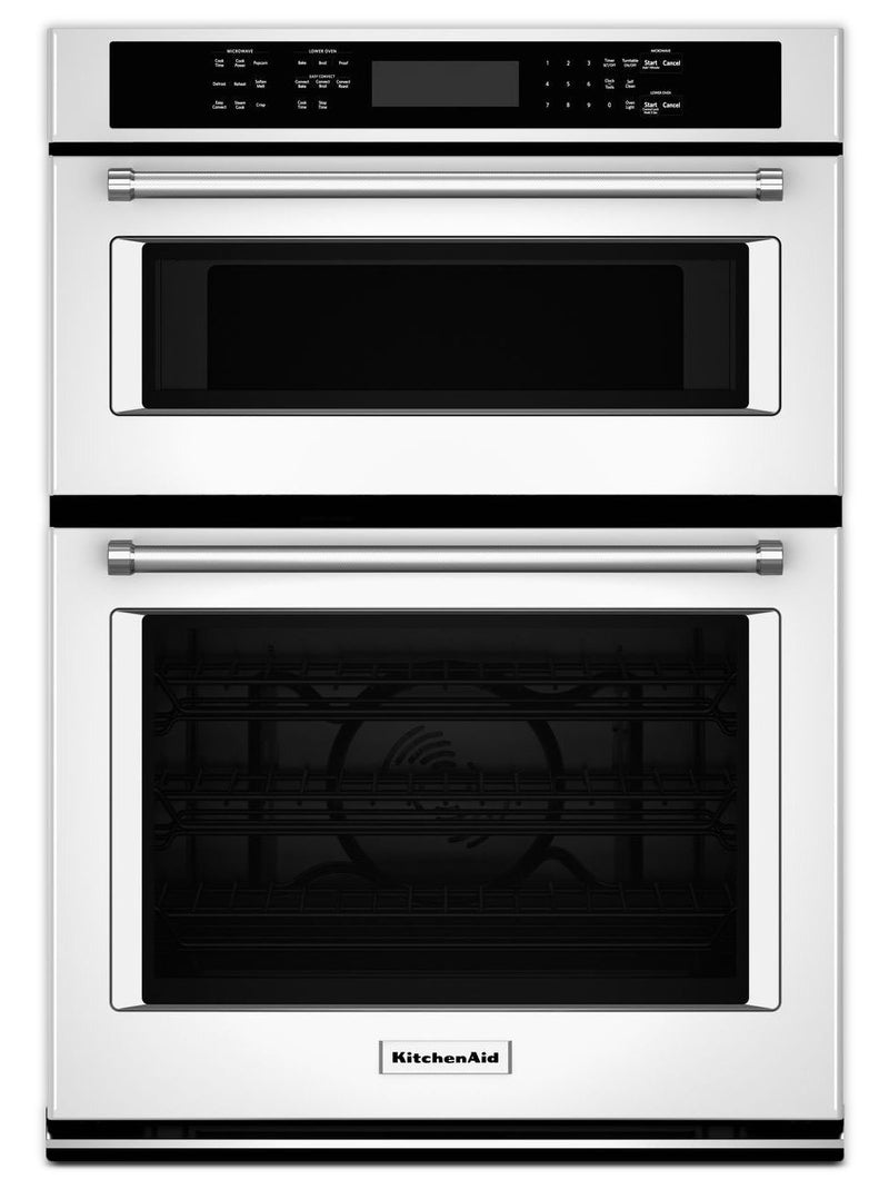 KitchenAid White Convection Wall Oven (4.3 Cu. Ft.) w/ Microwave (1.4 Cu. Ft.) - KOCE507EWH
