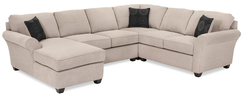 Althea 4-Piece Sectional with Left-Facing Chaise - Mocha