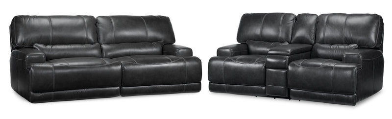 Dearborn Power Reclining Sofa and Reclining Loveseat with Console Set - Charcoal