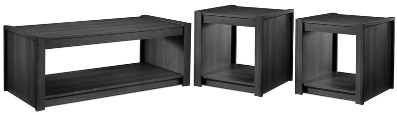 Toffee Coffee Table and Two End Tables - Grey