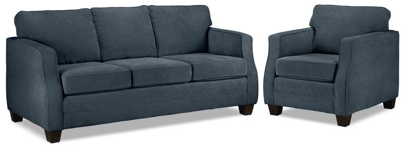Image of Agnes Sofa and Chair Set - Blue