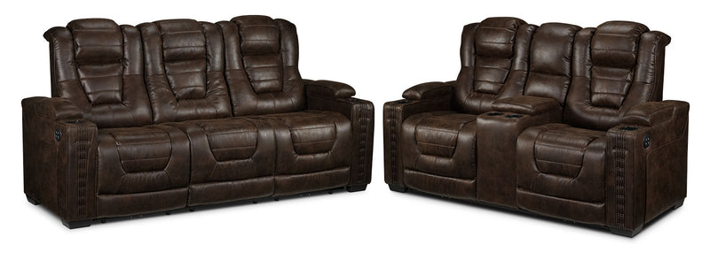 Dakota Power Reclining Sofa and Power Reclining Loveseat - Walnut