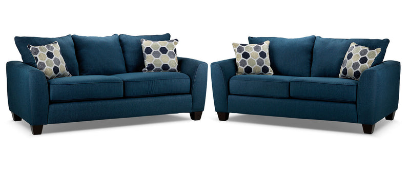 Heritage Sofa and Loveseat Set - Navy