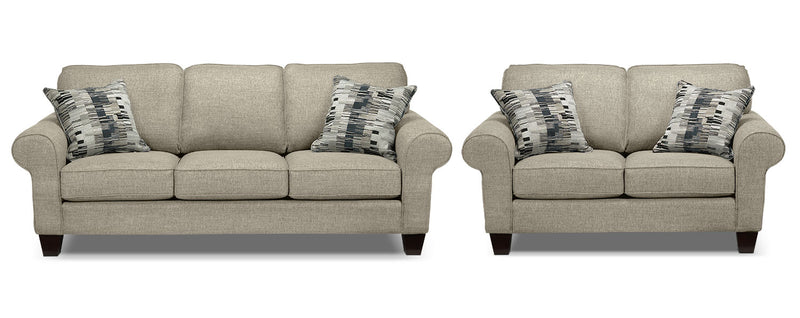 Drake Sofa and Loveseat Set - Taupe