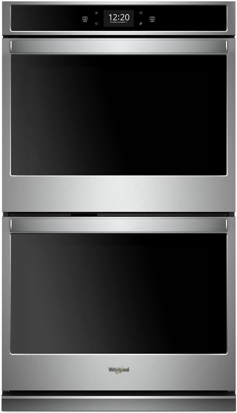 Whirlpool Black-on-Stainless Steel Electric Convection Double Wall Oven (8.6 Cu. Ft.) - WOD77EC7HS