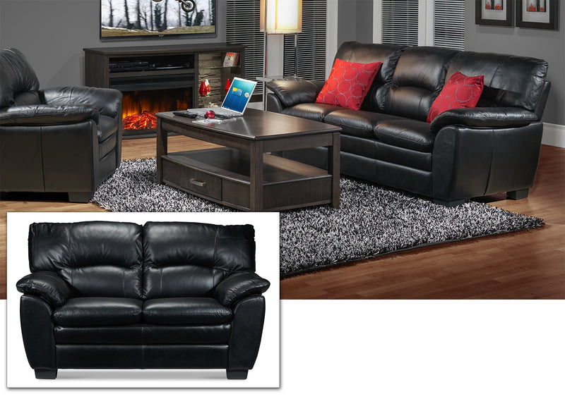 Rodero Sofa, Loveseat and Chair Set - Black