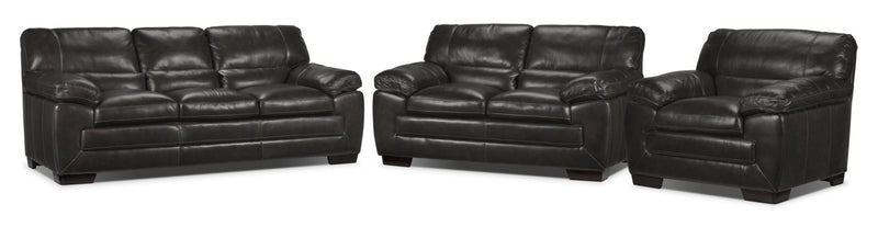 Amarillo Sofa, Loveseat and Chair Set - Charcoal
