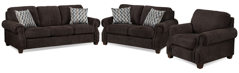 Barbara Sofa, Loveseat and Chair Set - Espresso