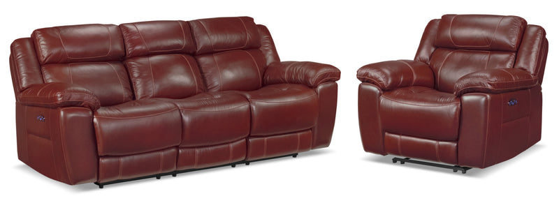 Solenn Power Reclining Sofa and Recliner - Redwood