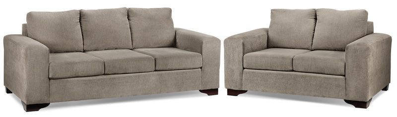 Fava Sofa and Loveseat Set - Pewter