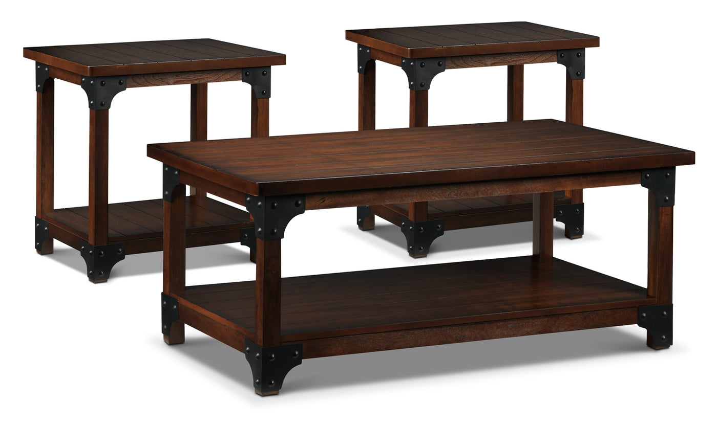 Wellington Coffee Table And Two End Tables Walnut Leon S