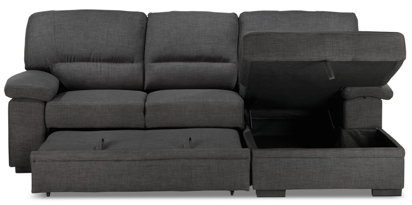 Tessaro Chaise Sofa With Pop Up Bed Charcoal Leon S