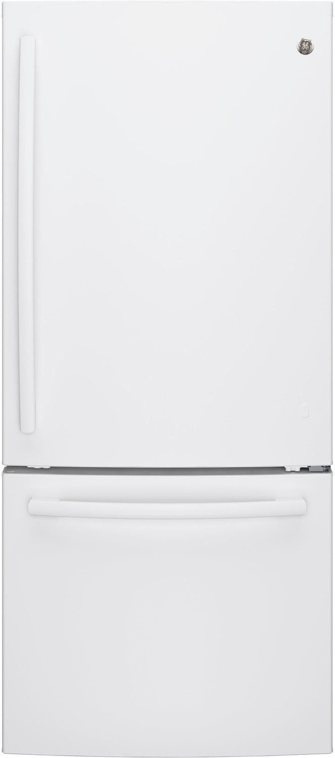 GE White BOTTOM-FREEZER REFRIGERATOR (20.9 CU. FT.) - GDE21DGKWW