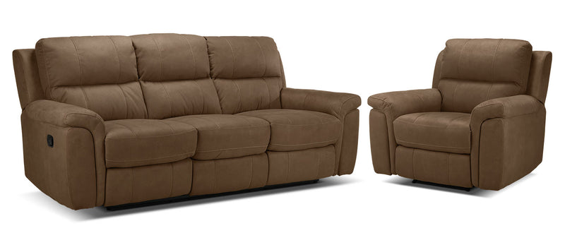 Roarke Reclining Sofa and Recliner Set - Tobacco