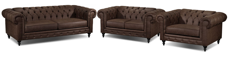 Chapman Sofa, Loveseat and Chair and a Half Set - Brown
