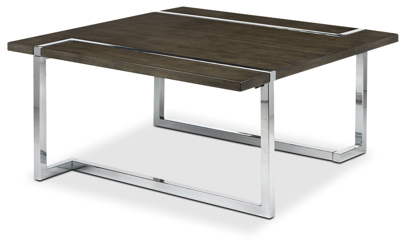 Kieran Square Coffee Table - Charcoal and Chrome