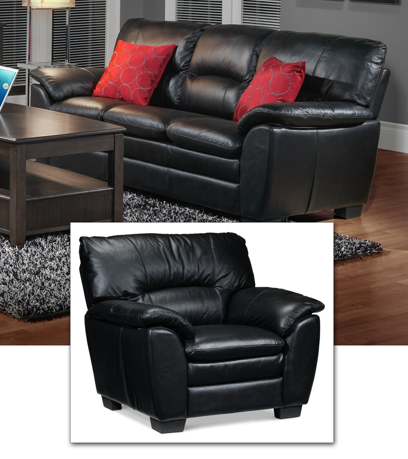 Rodero Sofa and Chair Set - Black