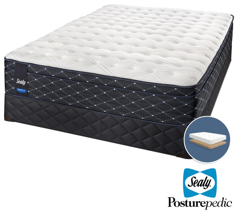 Sealy Narrative Cushion Firm Queen Mattress and Low-Profile Boxspring Set