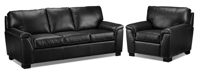 Reynolds Sofa and Chair Set - Black