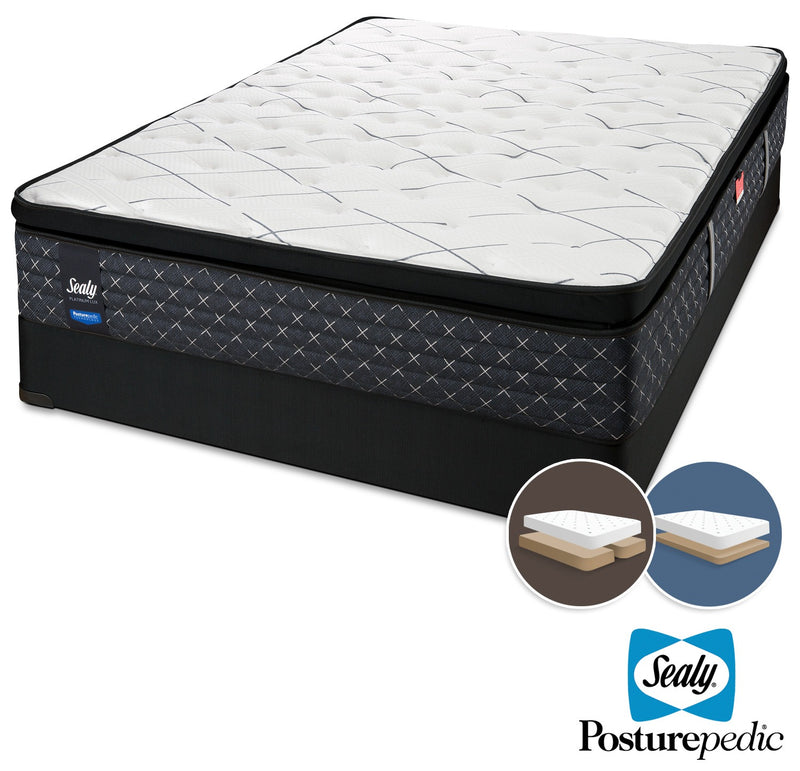 Sealy Pathos Plush King Mattress and Split Low-Profile Boxspring Set