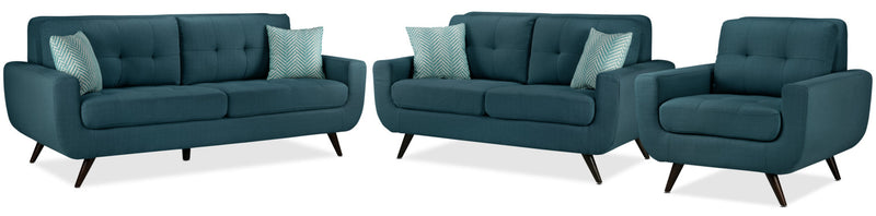 Jules Sofa, Loveseat and Chair Set - Blue