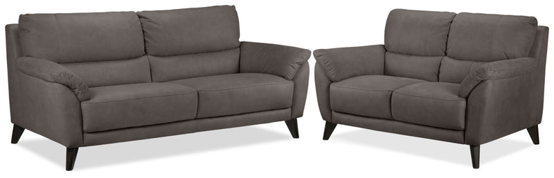 Stafford Sofa and Loveseat Set - Charcoal