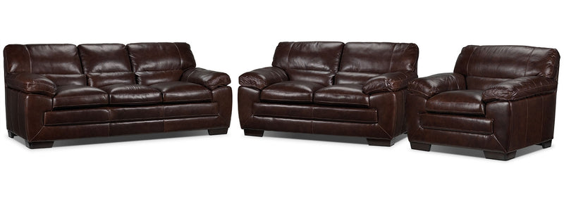 Amarillo Sofa, Loveseat and Chair Set - Brown
