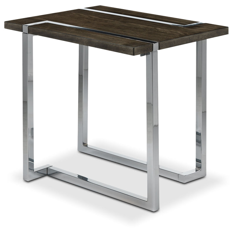 Kieran End Table - Charcoal and Chrome