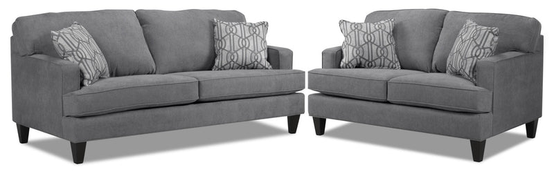 Bacchus Sofa and Loveseat Set - Slate