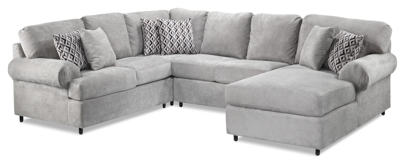 Covina 4 Piece Sectional With Right Facing Chaise Ash