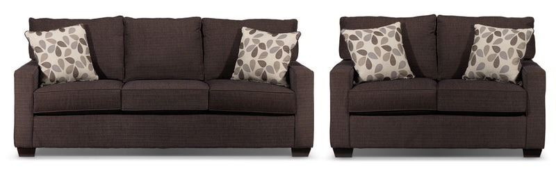 Perkin Sofa and Loveseat Set - Deep Brown
