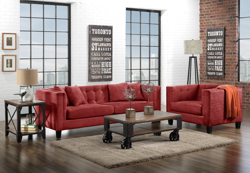 Astin Sofa and Chair and a Half Set - Red