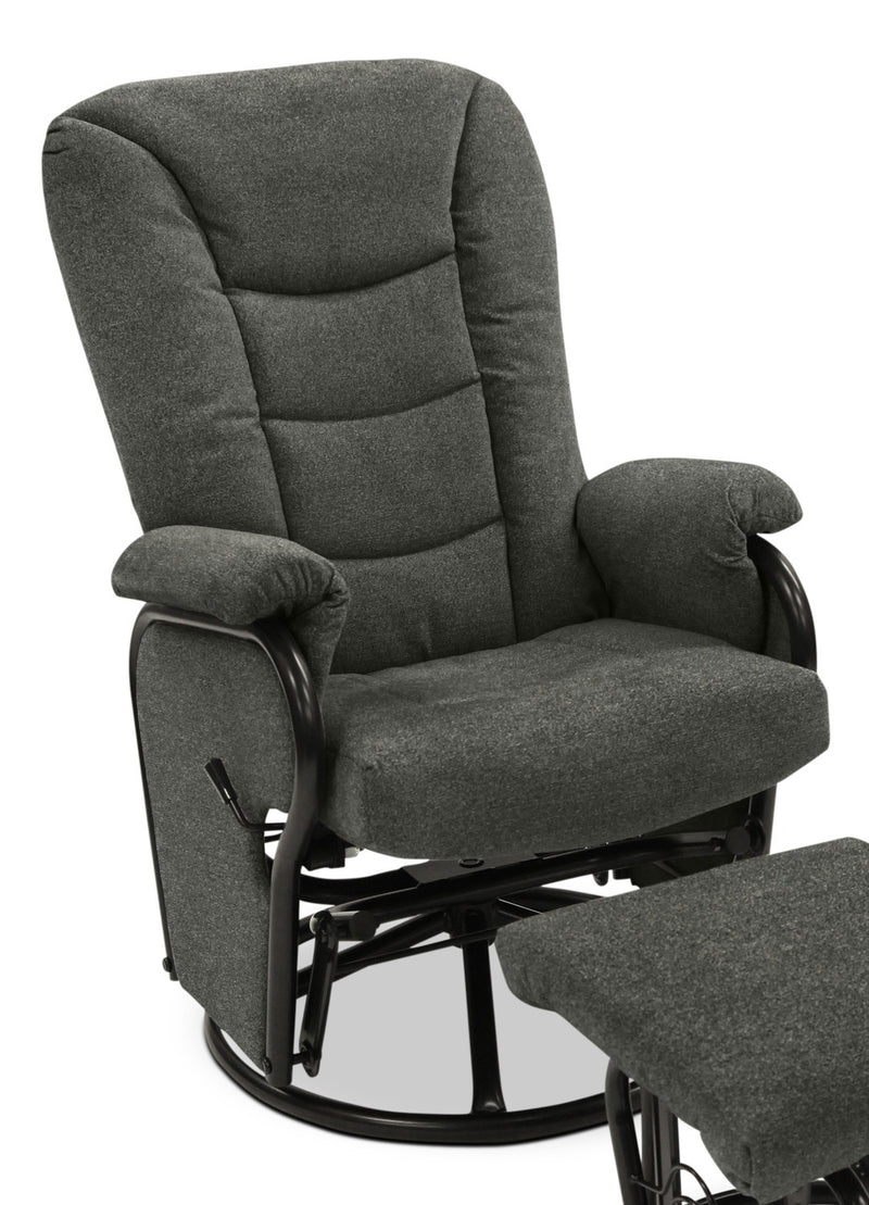 Hannah Swivel Glider Recliner - Charcoal