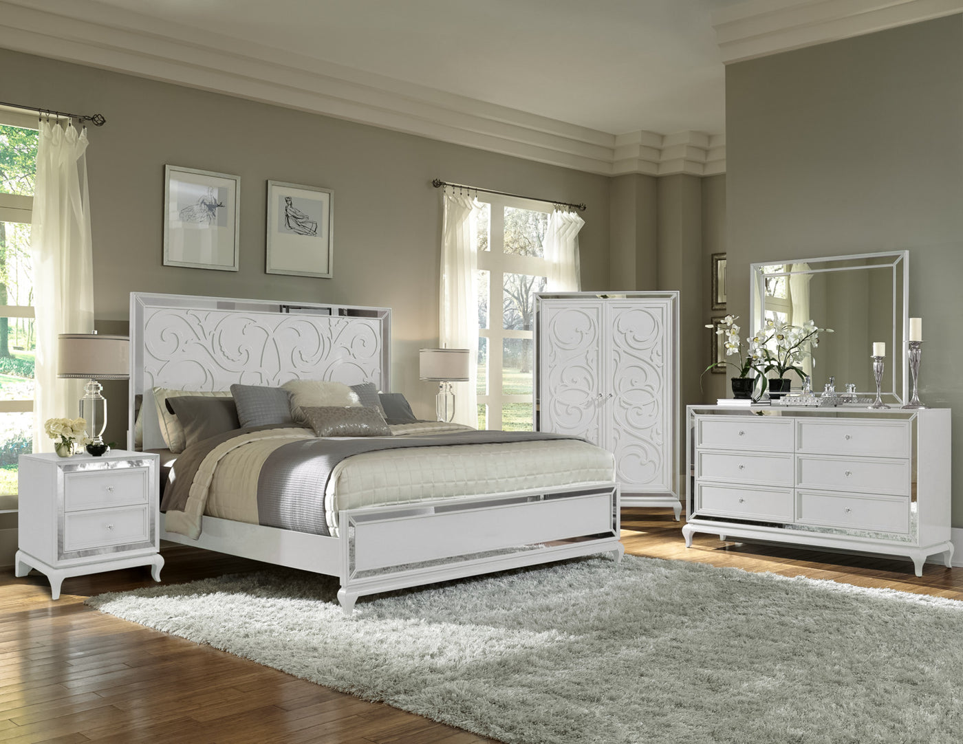 Arctic Ice 5-Piece King Bedroom Set - White | Leon's on white bedroom sets for teens, white modern bedroom sets, white queen bedroom sets, all white bedroom sets, white king beds, white bedroom curtains, white quilt bedding sets, white master bedroom sets, white contemporary bedroom, white tropical bedroom sets, white and gray master bedroom, white wash bedroom sets, off white bedroom sets, king size headboards and footboards sets, white bedroom decorations, king comforter sets, white and turquoise bedroom, white bedroom set outlet, white vanity sets, white bedroom furniture,