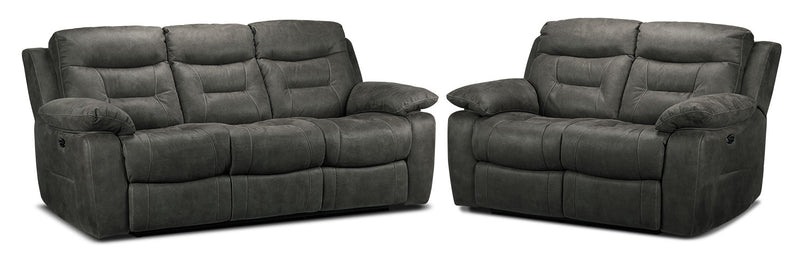 Colllins Power Reclining Sofa and Power Reclining Loveseat Set - Charcoal Grey