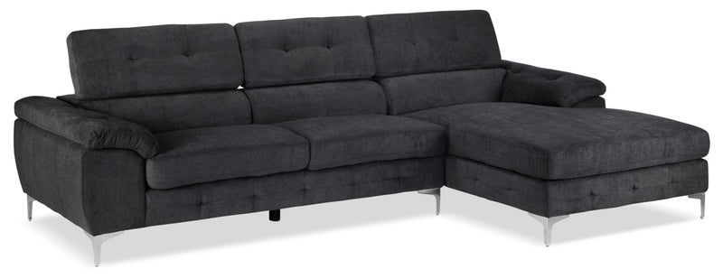 Aidhan 2-Piece Sectional with Right-Facing Chaise - Dark Grey