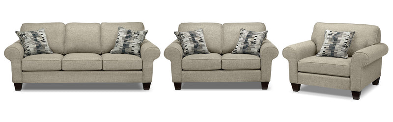 Drake Sofa, Loveseat and Chair Set - Taupe
