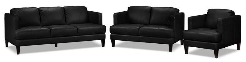 Walker Sofa, Loveseat and Chair Set - Black
