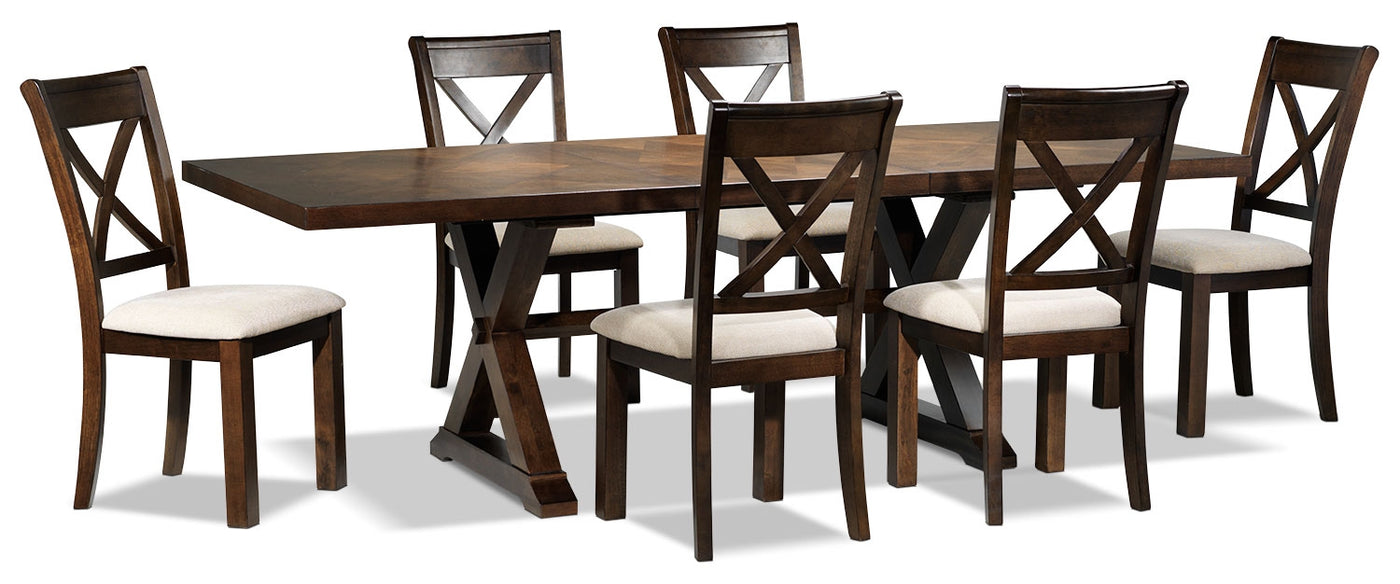 Picture of: Claira 7 Piece Dining Room Set Rustic Brown Leon S