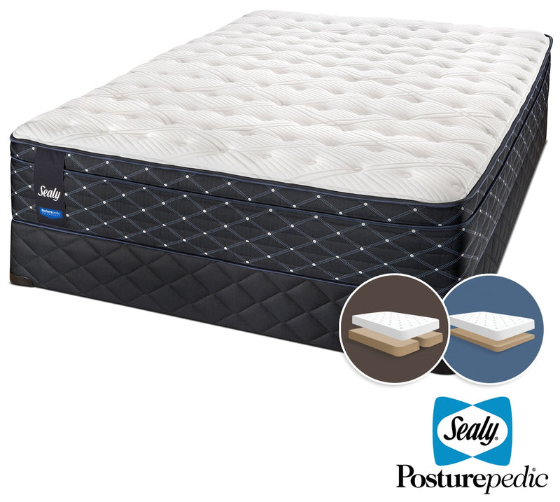 Sealy Narrative Cushion Firm King Mattress and Split Low-Profile Boxspring Set