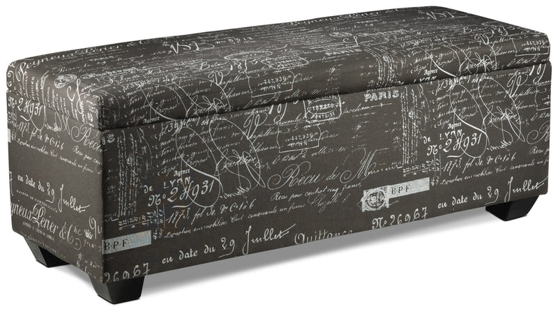 Boardwalk Large Storage Ottoman - Scroll Grey