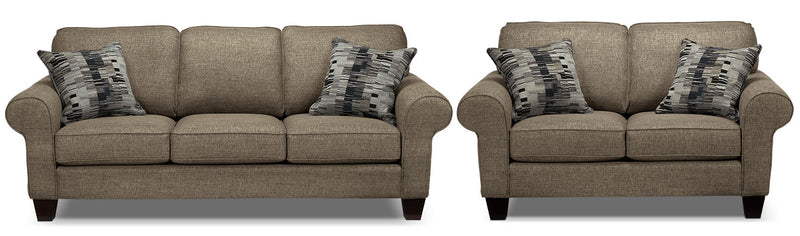 Drake Sofa and Loveseat Set - Mercury