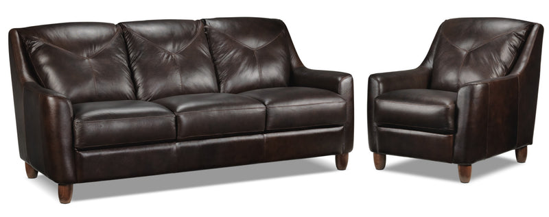Matteo Sofa and Chair Set - Walnut