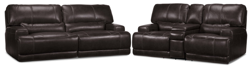 Dearborn Power Reclining Sofa and Reclining Loveseat w/ Console Set - Blackberry