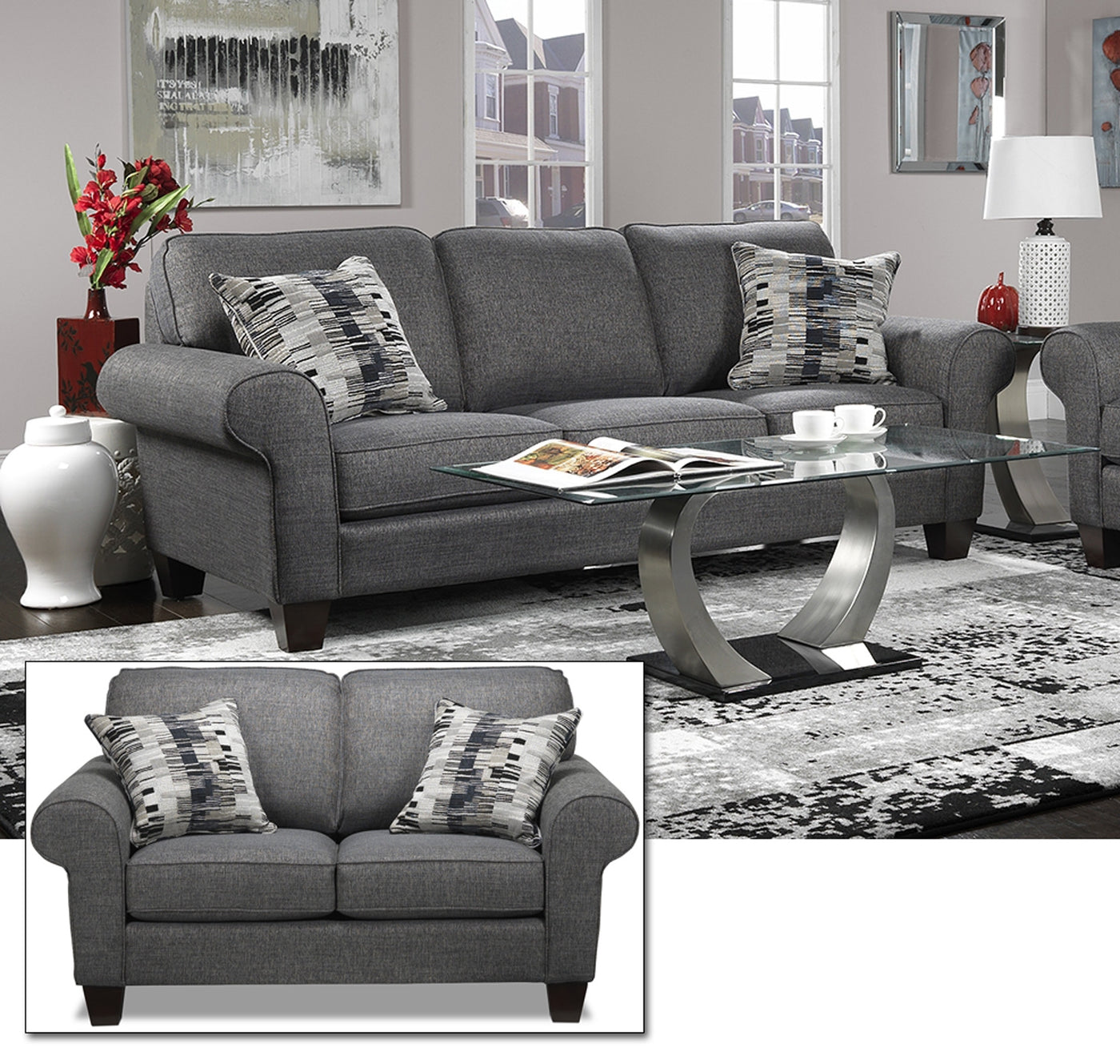 Drake 6 Pc. Living Room Package - Grey