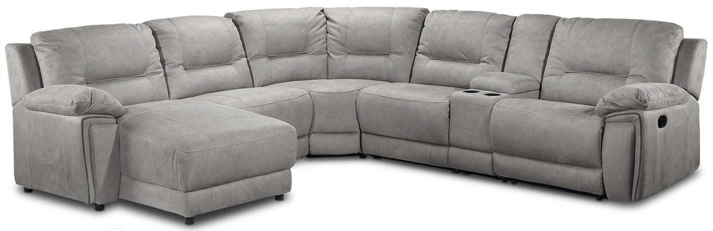 Pasadena 6-Piece Reclining Sectional with Left-Facing Chaise - Light Grey
